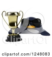 Clipart Of A 3d Penguin Wearing Sunglasses And Holding A Trophy Cup Over A Sign Royalty Free Illustration