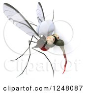 Clipart Of A 3d Mosquito Chef Looking Around A Sign Royalty Free Illustration