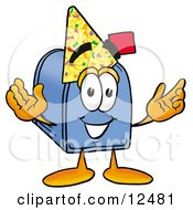 Clipart Picture Of A Blue Postal Mailbox Cartoon Character Wearing A Birthday Party Hat