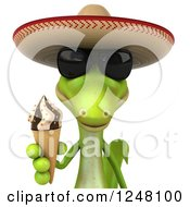Clipart Of A 3d Mexican Gecko In Sunglasses Holding An Ice Cream Cone Royalty Free Illustration