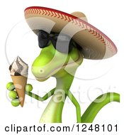 Clipart Of A 3d Mexican Gecko In Sunglasses Holding An Ice Cream Cone 2 Royalty Free Illustration