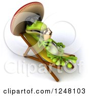 Clipart Of A 3d Mexican Gecko In Sunglasses Eating An Ice Cream Cone On A Lounge Chair Royalty Free Illustration