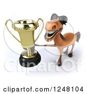 Clipart Of A 3d Happy Brown Horse Wearing Sunglasses And Holding A Trophy Royalty Free Illustration