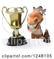 Clipart Of A 3d Happy Brown Horse Holding A Trophy Over A Sign Royalty Free Illustration
