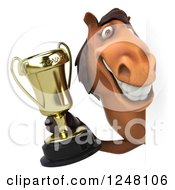 Clipart Of A 3d Happy Brown Horse Holding A Trophy Around A Sign Royalty Free Illustration