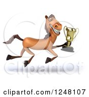 Clipart Of A 3d Happy Brown Horse Running With A Trophy Royalty Free Illustration