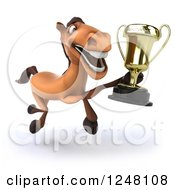 Clipart Of A 3d Happy Brown Horse Running With A Trophy 2 Royalty Free Illustration