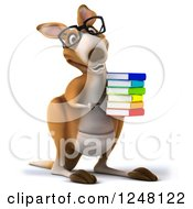 3d Bespectacled Kangaroo Holding And Pointing To A Stack Of Books