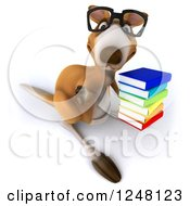 Clipart Of A 3d Bespectacled Kangaroo Holding A Thumb Down And Stack Of Books Royalty Free Illustration