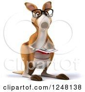 3d Bespectacled Kangaroo Reading A Book