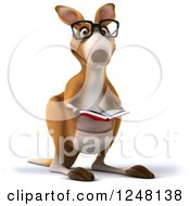 Clipart Of A 3d Bespectacled Kangaroo Reading A Book Royalty Free Illustration