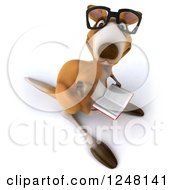 Clipart Of A 3d Bespectacled Kangaroo Holding A Thumb Down And Reading A Book Royalty Free Illustration