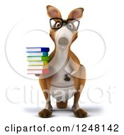 Clipart Of A 3d Bespectacled Kangaroo Holding A Stack Of Books Royalty Free Illustration