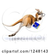 Clipart Of A 3d Bespectacled Kangaroo Hopping With Books Royalty Free Illustration