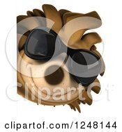 Clipart Of A 3d Happy Hedgehog Wearing Sunglasses And Looking Around A Sign Royalty Free Illustration by Julos