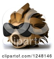 Clipart Of A 3d Smiling Hedgehog Wearing Sunglasses Royalty Free Illustration by Julos
