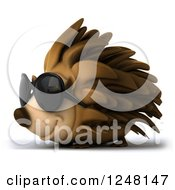 Clipart Of A 3d Happy Hedgehog Wearing Sunglasses And Facing Left Royalty Free Illustration by Julos