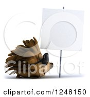 Clipart Of A 3d Happy Hedgehog Wearing Sunglasses By A Blank Sign Royalty Free Illustration by Julos