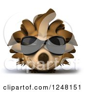 Clipart Of A 3d Happy Hedgehog Wearing Sunglasses Royalty Free Illustration by Julos