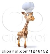 Clipart Of A 3d Chef Giraffe Walking 2 Royalty Free Illustration