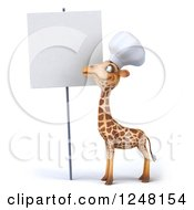 Clipart Of A 3d Chef Giraffe By A Blank Sign Royalty Free Illustration