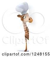 Clipart Of A 3d Chef Giraffe Looking Around A Sign Royalty Free Illustration