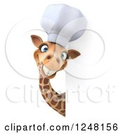 Clipart Of A 3d Chef Giraffe Smiling Around A Sign Royalty Free Illustration