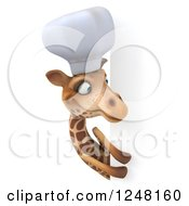 Clipart Of A 3d Chef Giraffe Looking Around A Sign 2 Royalty Free Illustration