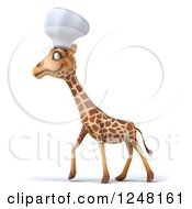 Clipart Of A 3d Chef Giraffe Walking Royalty Free Illustration