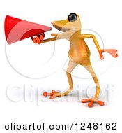 Clipart Of A 3d Yellow Frog Announcing With A Megaphone 2 Royalty Free Illustration