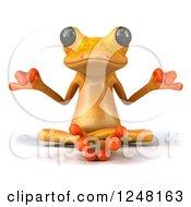 3d Yellow Frog Meditating