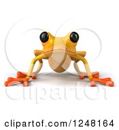 Clipart Of A 3d Yellow Frog Royalty Free Illustration by Julos