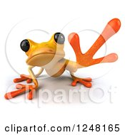 Clipart Of A 3d Yellow Frog Crouching And Reaching Royalty Free Illustration