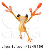 Clipart Of A 3d Yellow Frog Jumping Or Dancing Royalty Free Illustration by Julos