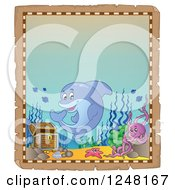 Clipart Of An Aged Parchment Page With A Dolphin Octopus And Starfish By Sunken Treasure Royalty Free Vector Illustration by visekart