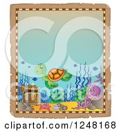 Clipart Of An Aged Parchment Page With A Sea Turtle Octopus And Starfish By Sunken Treasure Royalty Free Vector Illustration
