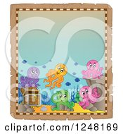 Clipart Of An Aged Parchment Page With Colorful Octopi By Sunken Treasure Royalty Free Vector Illustration