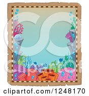 Clipart Of An Aged Parchment Page With A Coral Reef Royalty Free Vector Illustration