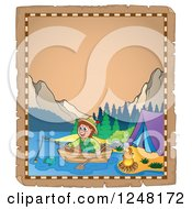 Clipart Of An Aged Parchment Page With A Camping Man Fishing In A Mountainous Lake Royalty Free Vector Illustration by visekart