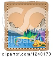 Clipart Of An Aged Parchment Page With A Mountainous Lake Camp Site Royalty Free Vector Illustration