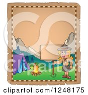 Clipart Of An Aged Parchment Page With A Camping Scout Girl And A Sign Royalty Free Vector Illustration by visekart