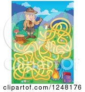 Clipart Of A Camping Scout Boy Maze Royalty Free Vector Illustration by visekart