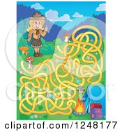Clipart Of A Camping Scout Girl Maze Royalty Free Vector Illustration by visekart