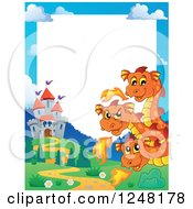 Clipart Of A Border Of A Three Headed Orange Fire Breathing Dragon And A Castle Royalty Free Vector Illustration