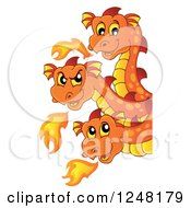 Clipart Of A Three Headed Orange Fire Breathing Dragon Around A Sign Royalty Free Vector Illustration by visekart