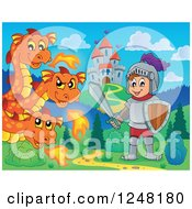 Clipart Of A Three Headed Orange Fire Breathing Dragon And Knight Near A Castle Royalty Free Vector Illustration by visekart