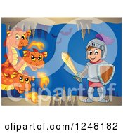 Clipart Of A Three Headed Orange Fire Breathing Dragon And Knight In A Cave Royalty Free Vector Illustration