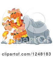 Clipart Of A Three Headed Orange Fire Breathing Dragon In A Cave Royalty Free Vector Illustration by visekart