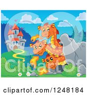 Clipart Of A Three Headed Orange Fire Breathing Dragon In A Cave Near A Castle Royalty Free Vector Illustration