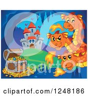 Clipart Of A Three Headed Orange Fire Breathing Dragon Guarding Treasure In A Cave Near A Castle Royalty Free Vector Illustration